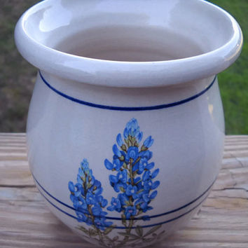 Yesteryears Blue Bonnet Vase - Retro Marshal Texas - Blue Bonnet Hand Turned Jar - Blue Bonnet Stoneware Pitcher - Marshal  Crock