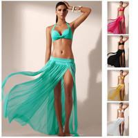 Women's Sexy Casual Loose Long Maxi Slit Dress Bikini Cover-up Swimwear Swimsuit