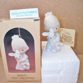 Precious Moments 1980 Babys First Christmas Ornament Girl Holding Bunny