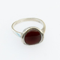 Mod Silver Carnelian Ring- Vintage, Red Stone, Deep Red Ring