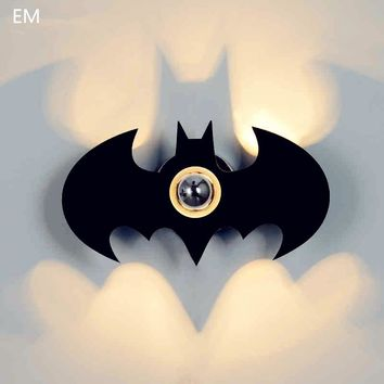 Bat Wall Light E27 Black Acrylic For Bedroom Living Room Night Light Stair Lighting Bedside Wall Lamp Batman Sconce WWL046
