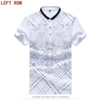 VONE05WA New 2017 Brand POLO Shirt Men Cotton Fashion Skull Dots Print Camisa Polo Summer Short-sleeve Casual Shirts Large size M -7XL