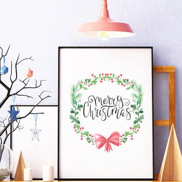 Merry Christmas sign - Merry Christmas print - Christmas printable - Christmas decor - Christmas decoration - Holiday wall decor