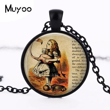Alice in wonderland Necklace Wonderland fantasy once upon a time Necklace women men jewelry chain brass necklaces charming HZ1