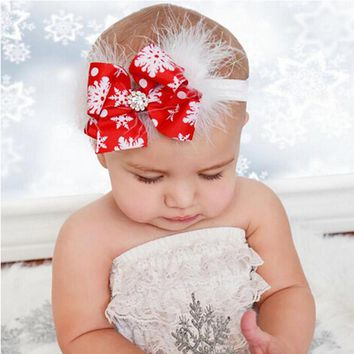 1PC Headwear  Kids Hair Bow Feather Headband Christmas Gift Kids Hair Bands Elastic Rhinestone Hair Accessories