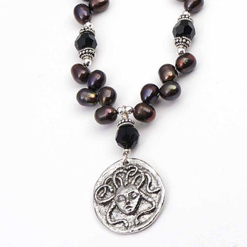 Medusa necklace with dark diagonal pearl beads mythic theme ouroboros 19 1/2 inches 49cm