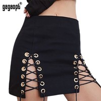 Gagaopt Brand Sexy Pencil Skirt Hollow Out Split Short Skirt With Ropes European and American Style High Waist Skirts Saias