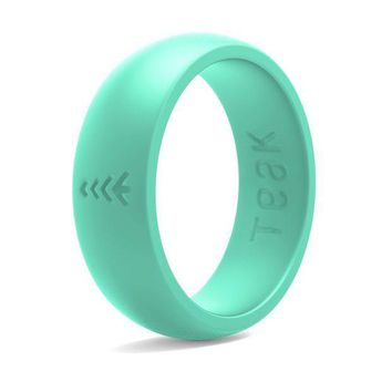 CREYRQ5 Silicone Wedding Ring for Women. Rubber Wedding Band for Every Day Use - Yoga, Training, Sports, Military, Work, Travel and Outdoor - Teak
