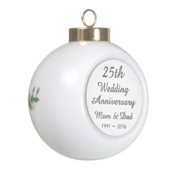 25th Wedding Anniversary Chic Silver Typography Ceramic Ball Christmas Ornament