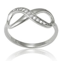 Sterling Silver White Topaz Infinity Figure 8 Ring (Size 7)