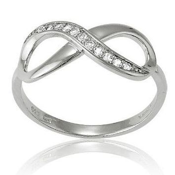 Sterling Silver White Topaz Infinity Figure 8 Ring (Size 7) Available in sizes 5 - 6 - 7 - 8 - 9 - 10