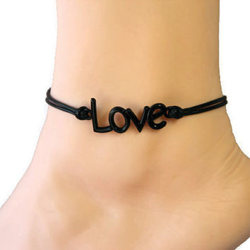 monogram love anklet/bracelet,black charm anklet,black wax cord anklet,summer trending,lucky jewelry,personalized gift,jewelry,accessories