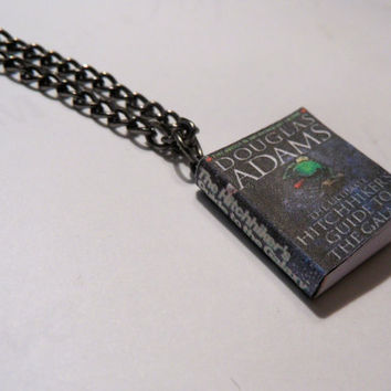 Hitchhikers Guide to the Galaxy by Douglas Adams Miniature Book Pendant Necklace