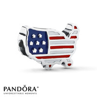 PANDORA USA Charm Red, White & Blue Enamel Sterling Silver