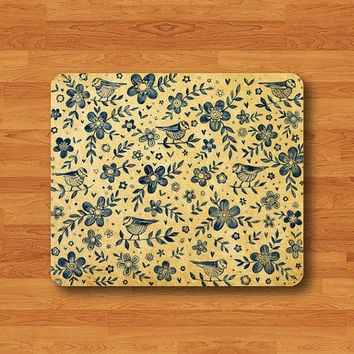 Vintage Bird Flower Parchment Mouse Pad Floral Paper Office Desk Deco Fabric Rubber PAD Customized MousePad Work Station Boss Gift Hand Draw