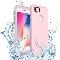 iPhone 7 Case, iPhone 8 Waterproof Case,IP68 Certified Waterproof Case,ZVE Underwater, Dustproof Snowproof Shockproof Protective Cover with Touch ID for iPhone 8/iPhone 7 (4.7 inch,Pink)