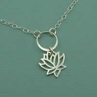 Lotus Charm Necklace - sterling silver zen jewelry - flower pendant