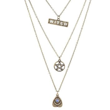 Lux Accessories Burnished Gold Witch Wiccan Pentagram Opal Layered Necklace
