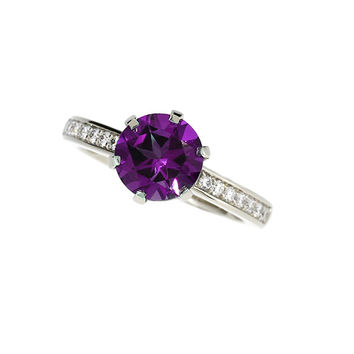 7.00mm Amethyst solitaire ring, Diamond, White gold, Engagement, Solitaire, purple, Diamond engagement, amethyst engagement,  nickel free