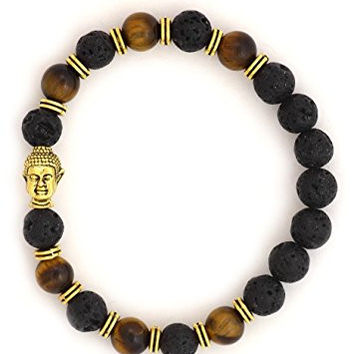 Buddha Charm Lava Beads Stretch Bracelet BE30 Vintage Glass Amber Gold Tone Amulet Fashion Jewelry