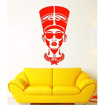 Vinyl Wall Decal Egyptian Nefertiti In Sunglasses Queen Of Egypt Stickers (2902ig)