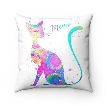 Abstract Cat Square Pillow