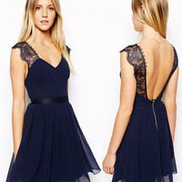 Lace Patchwork Hot Sale Summer Women's Fashion Chiffon One Piece Dress [11405181583]
