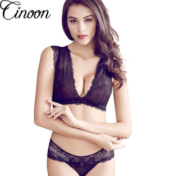 Victoria underwear for women sexy bra set lace thin see through bras wireless U.S back plunge bra and panty set soutien gorge