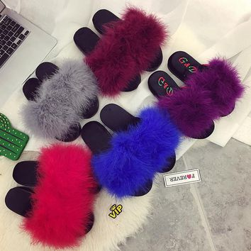 35-42 sweet candy color summer women natural feather turkey fur fuzzy slippers slides mules women open toe flat shoes 5 colors