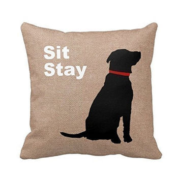 Sit Stay Words Dog Pillow Cover Print Pet Pillowcase Birthday's Gift Annivers...