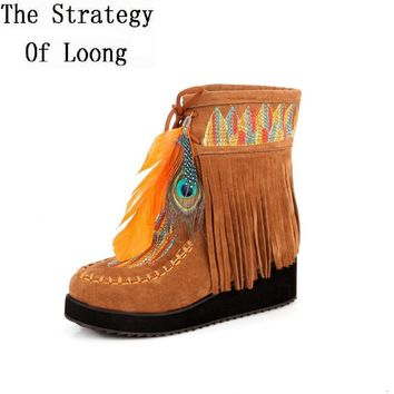 Indian Style Retro Fringe Boots Flock Chunky Feather Women Ankle Short Boots Tassels Big Size Shoes Plus Size EU 44 45 46
