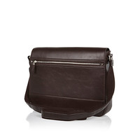 River Island MensBrown structured flap over bag