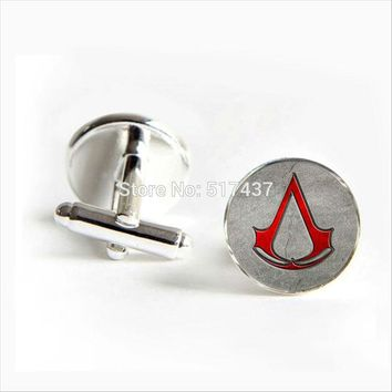 2018 New Fashion Assassin's Creed Red Logo Cufflinks Assassin's Creed Cufflink Shirt Cufflinks Women