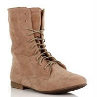 Taupe Lace Up Suede Boots