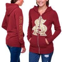 Arizona State Sun Devils Ladies Courtney Full Zip Hoodie - Maroon