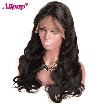 360 Lace Frontal Wig Brazilian Body Wave Human Hair Wigs for Black Women 150 Density Swiss Lace Non Remy Pre Plucked Wig ALIPOP