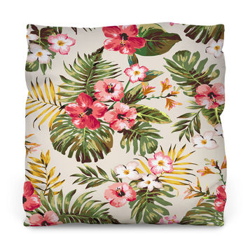 Tropical Flowers Outdoor Throw Pillow
