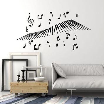 Vinyl Wall Decal Piano Keyboard Keys Music Notes Treble Clef Musical Decor Stickers Mural (g971)
