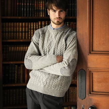 Men's Crew Neck Cable Knit Sweater