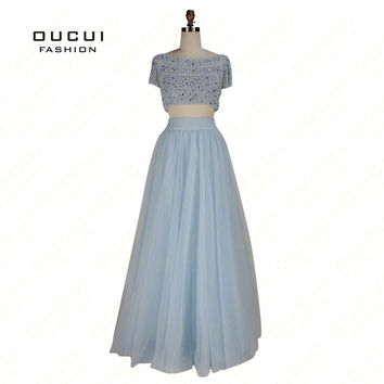 Real Photos Two Piece Beading Handwork Tulle Fabric Pearl Crystal Party prom Evening Long Dresses New see through back OL102908