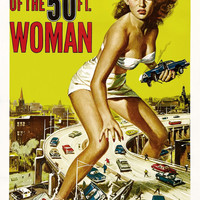 Attack Of The 50 Ft Woman Vintage Movie Poster