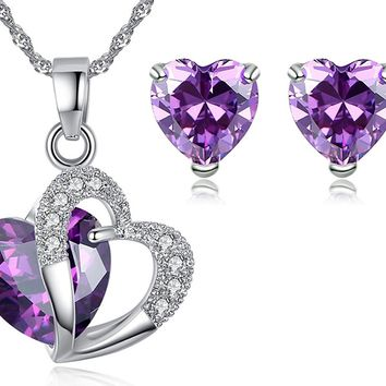 3 Ct Simulated Gemstone Ruby Amethyst Diamond Sterling Silver Earrings Pendant Necklace Set -Great Valentines Birthday Anniversary Mothers Day Wedding Gift