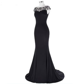 Long Beading Dresses Floor Length Mermaid Evening Dress Cap Sleeve Women Formal Party Gown