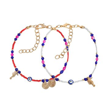 Evil Eye Protection Love Couples Amulets Set Royal Red Blue Pink White Sea Horse Power Bracelets