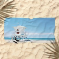 Lifeguard tower Carlsbad 35 Beach Towel by sylviacookphotography