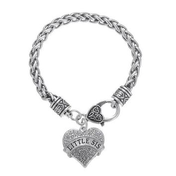 Big Middle Little Baby Sister Crystal Heart Shaped Charm Braided Bracelet
