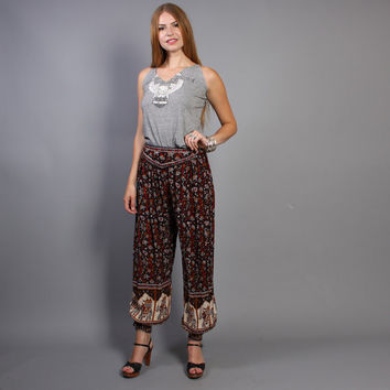 80s High Waist HAREM PANTS / Ethnic Indian Elephant Print, xs-m