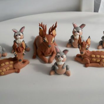 Bambi and Thumper fondant cake topper set