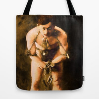 Vintage Houdini In Chains Painting Tote Bag by Blooming Vine Design