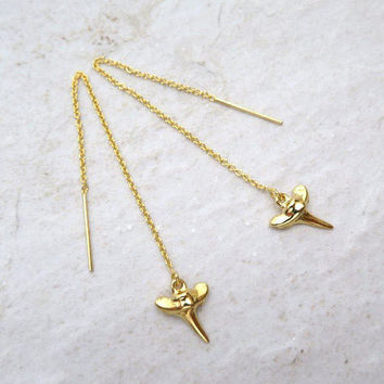 Shark Tooth Threader Earrings, Long Gold Chain Dangle, Hawaii Beach Jewelry, Earring Threaders, Christmas Gift Idea, Boho Fashion, Handmade